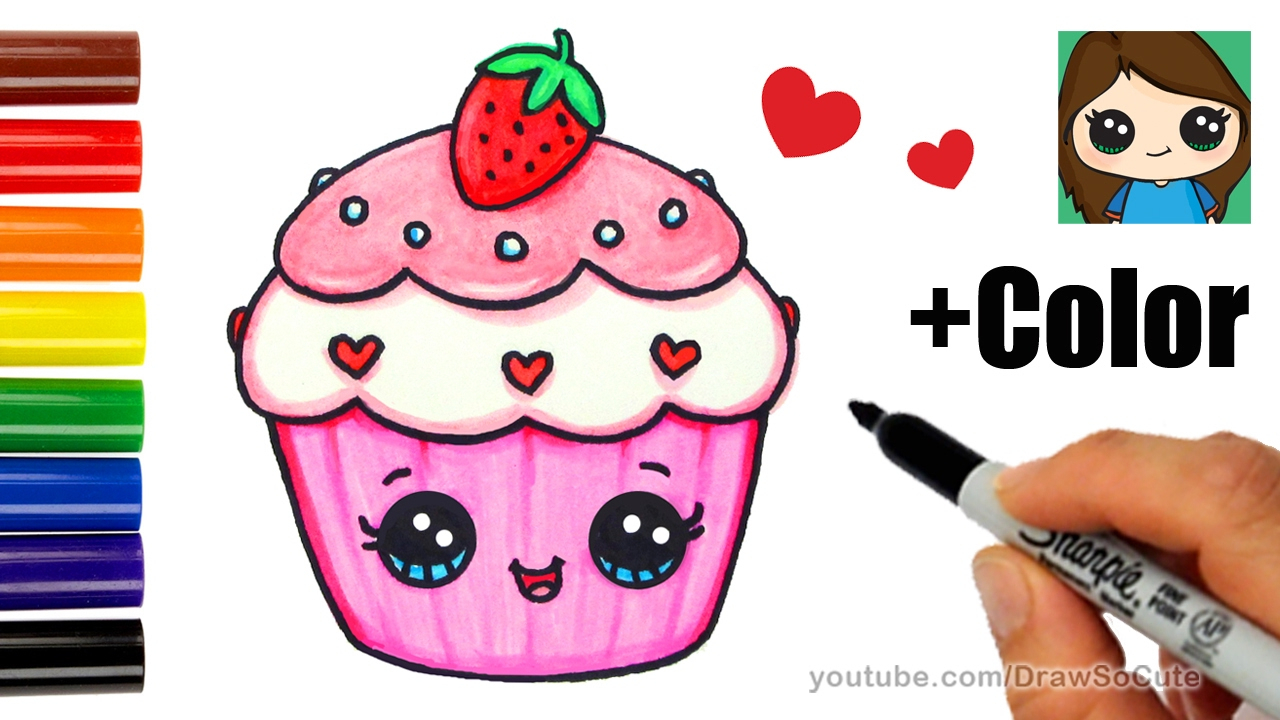 1280x720 Cupcake Cartoon Drawing How To Draw + Color A Cupcake Easy