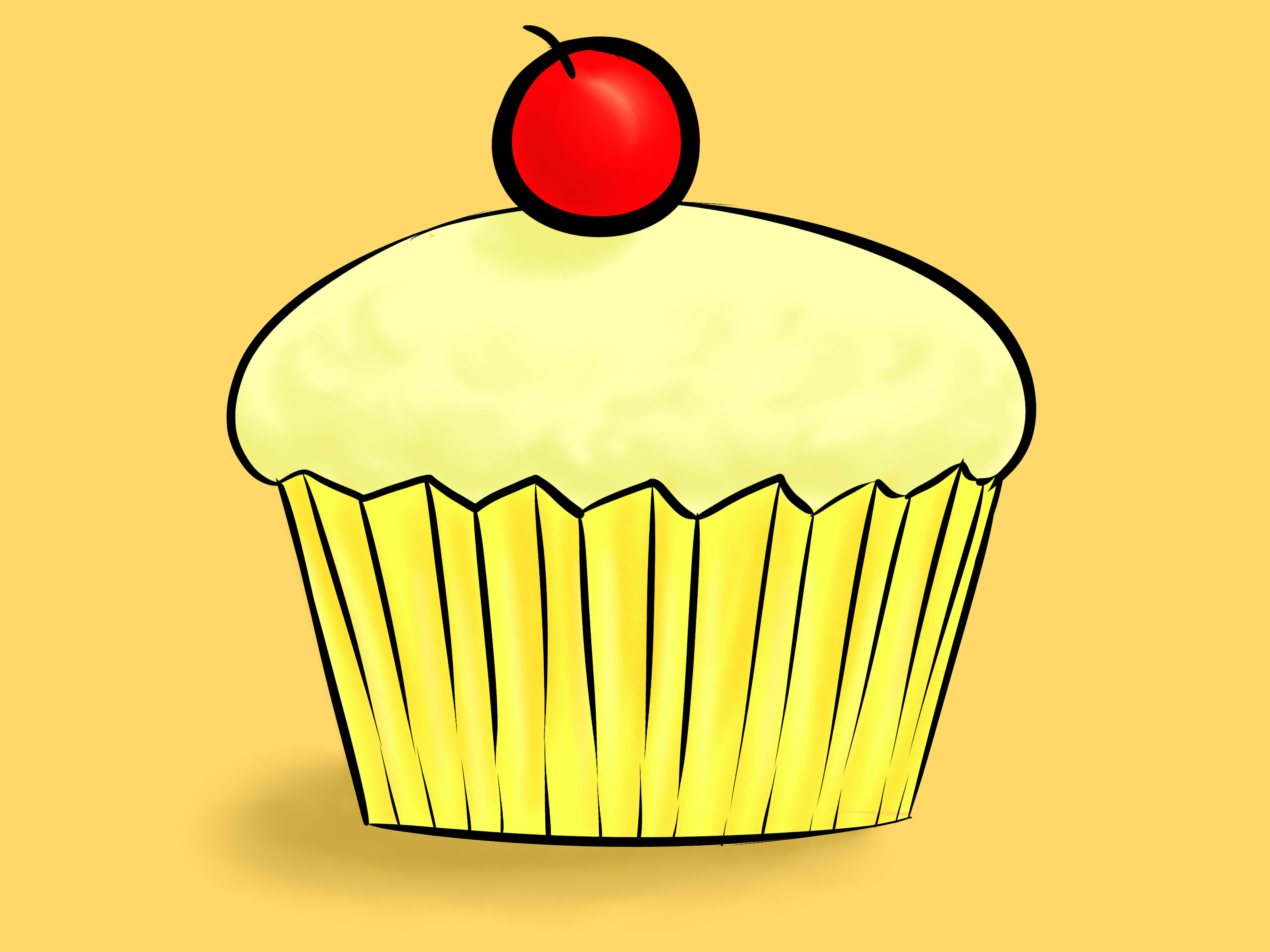 3200x2400 Draw A Cupcake Cake Illustration, Tutorials And Outlines