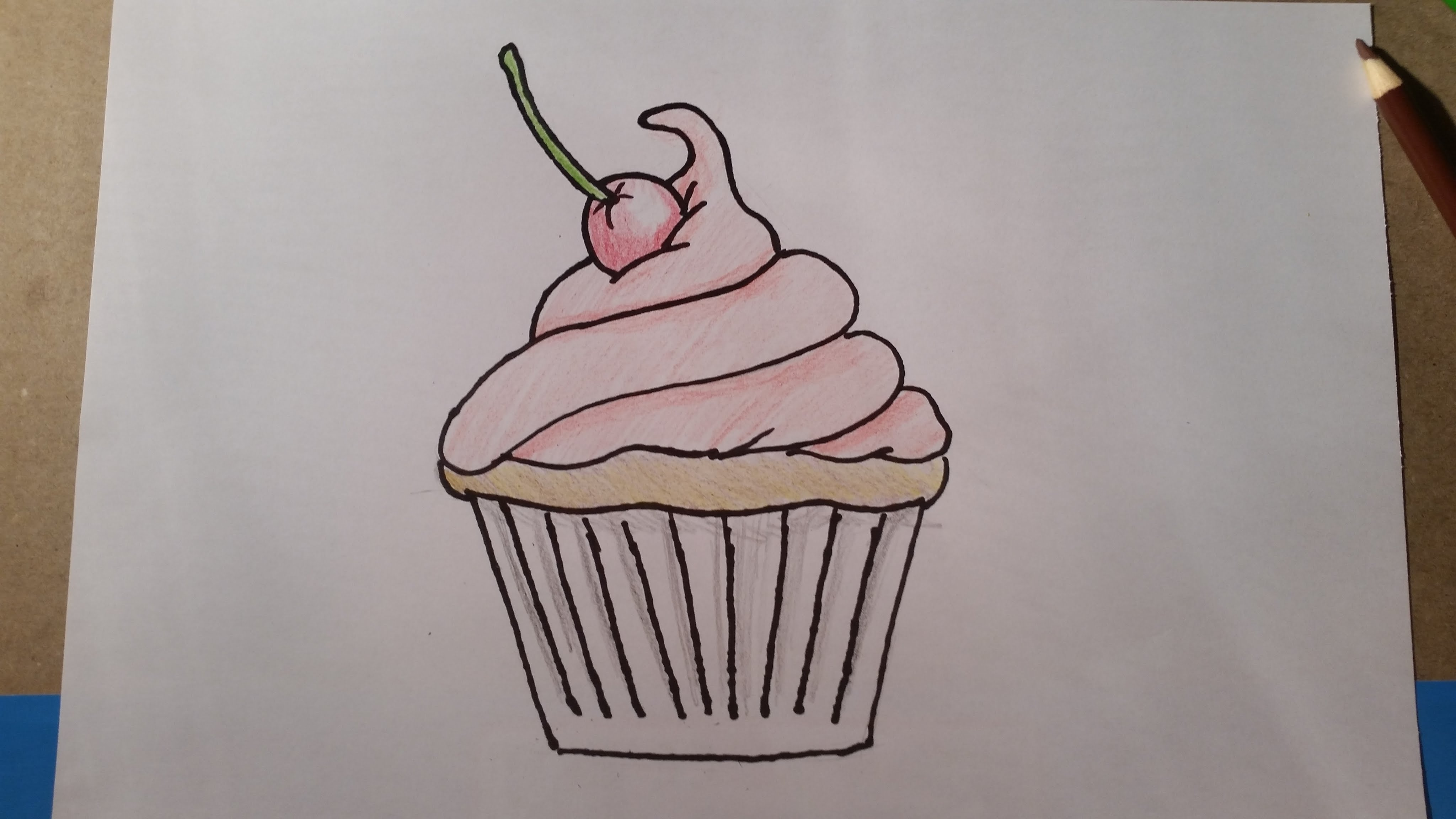 Hello Kitty Cupcake Coloring Pages : Cupcake cartoon drawing at getdrawings free for personal use