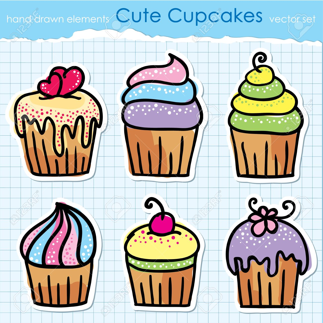 1300x1300 Cute Hand Drawn Cupcakes Set Design Elements Royalty Free Cliparts