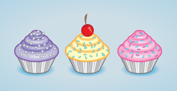 575x295 A Tasty Cupcake Icon In Adobe Illustrator