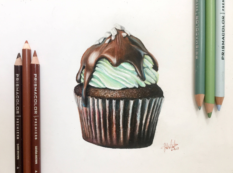 3000x2238 Mint Chocolate Cupcake Drawing Print Wall Art Food Art Dessert