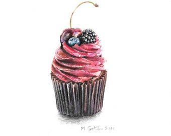 340x270 Original Berry Cupcake Drawing Color Pencil Drawing