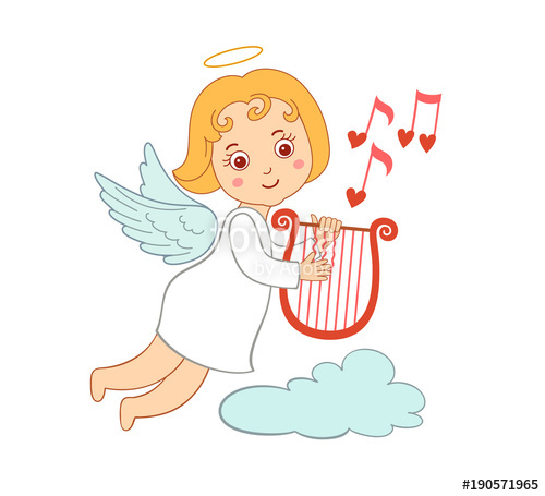500x455 Cute Drawing Cartoon Cupid For Valentine's Day. Small Angel