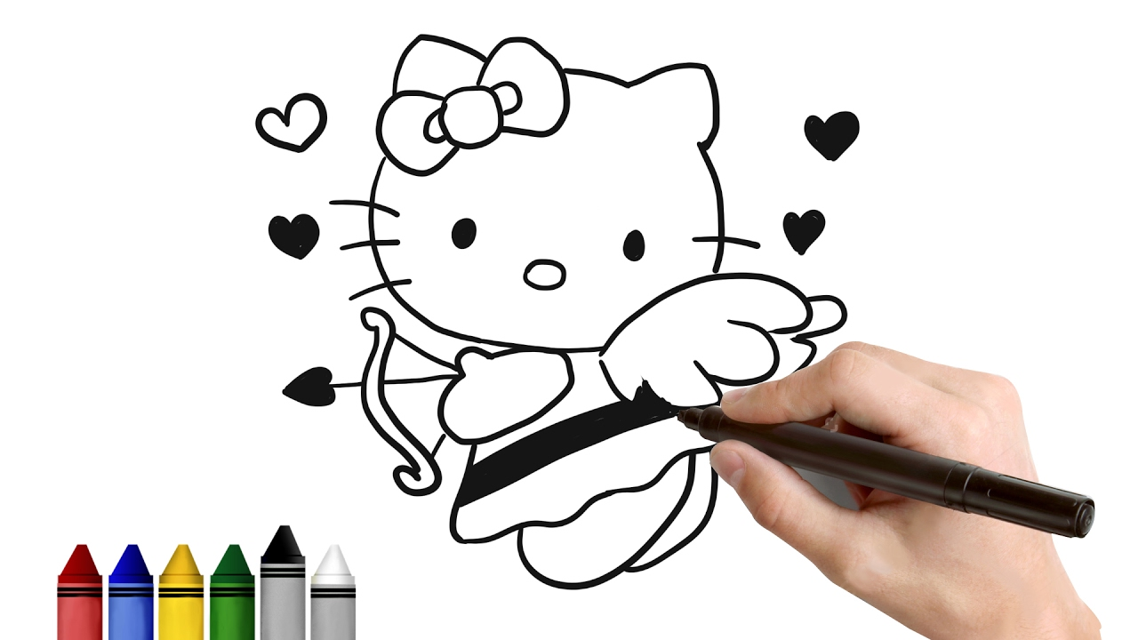 1280x720 How To Draw Hello Kitty Cupid For Valentines Drawing For Kids