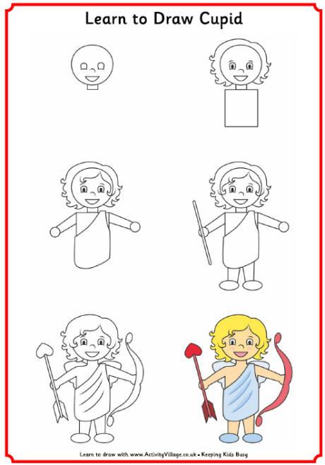 460x658 Learn To Draw A Cupid Bulletin Board Ideas Cupid
