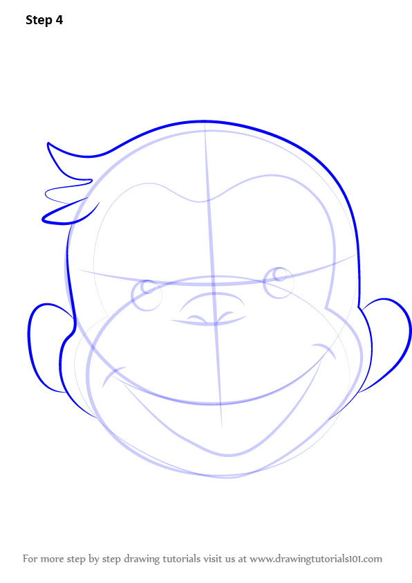 596x842 Learn How To Draw Curious George Face (Curious George) Step By