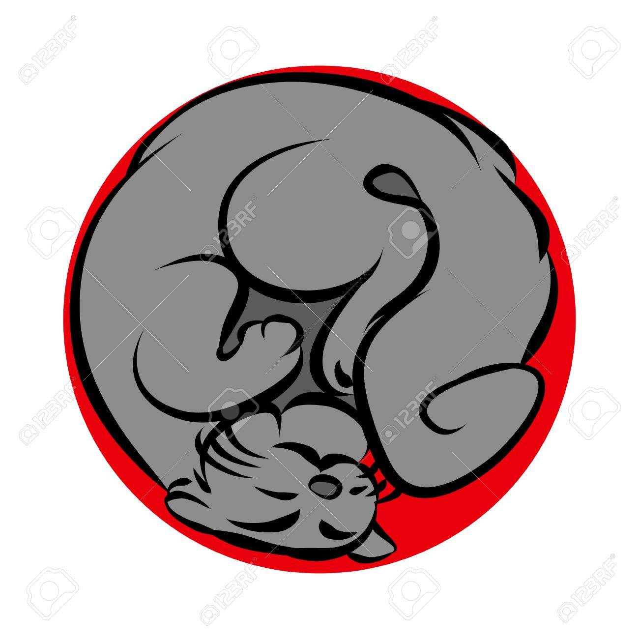 1300x1300 Cat Curled Up, Abstract Vector Illustration On White Background
