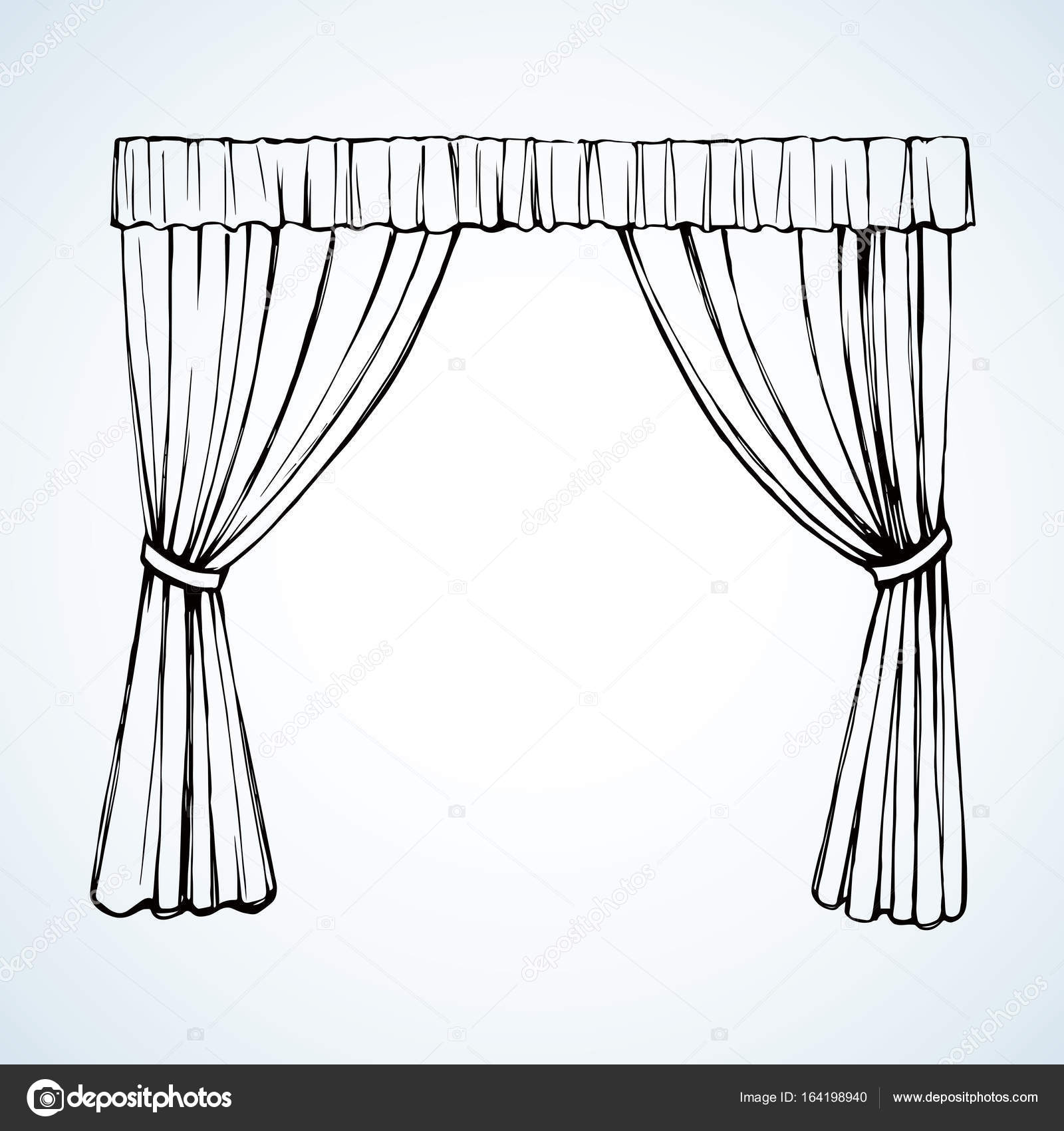1600x1700 Curtain. Vector Drawing Stock Vector Marinka