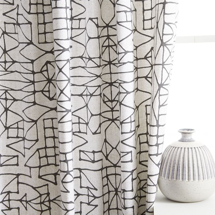 710x710 Cotton Canvas Sketched Drawing Curtains (Set of 2)