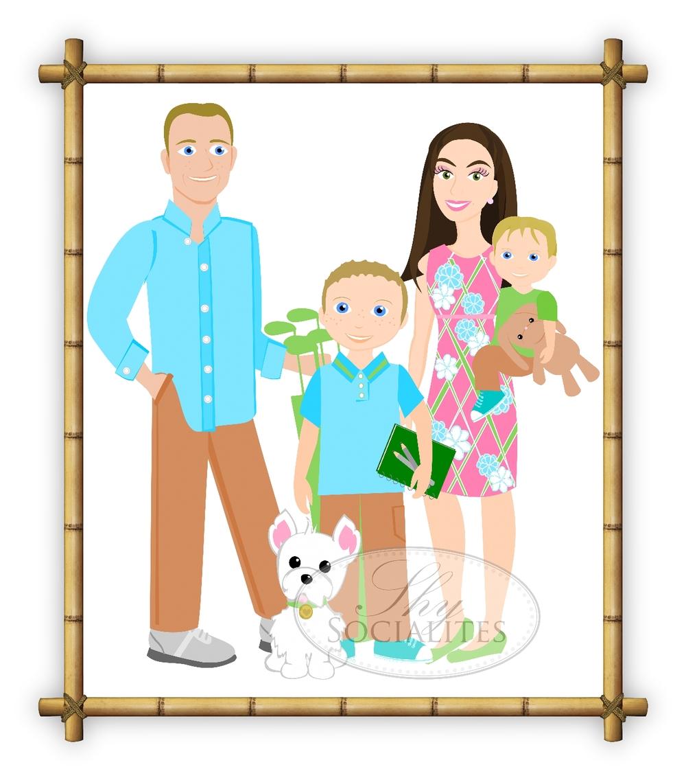 1000x1136 3 To 5 People Cartoon Family Drawing ~ Custom Illustration Shy