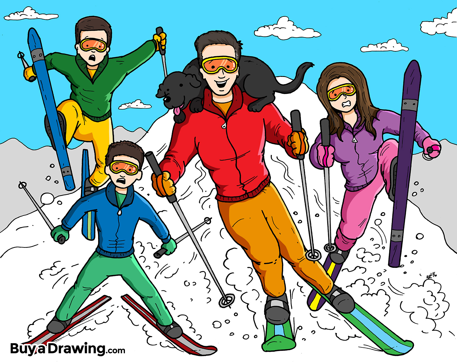 1500x1191 A Cartoon Drawing Of A Family Of Four Skiing Down A Hill