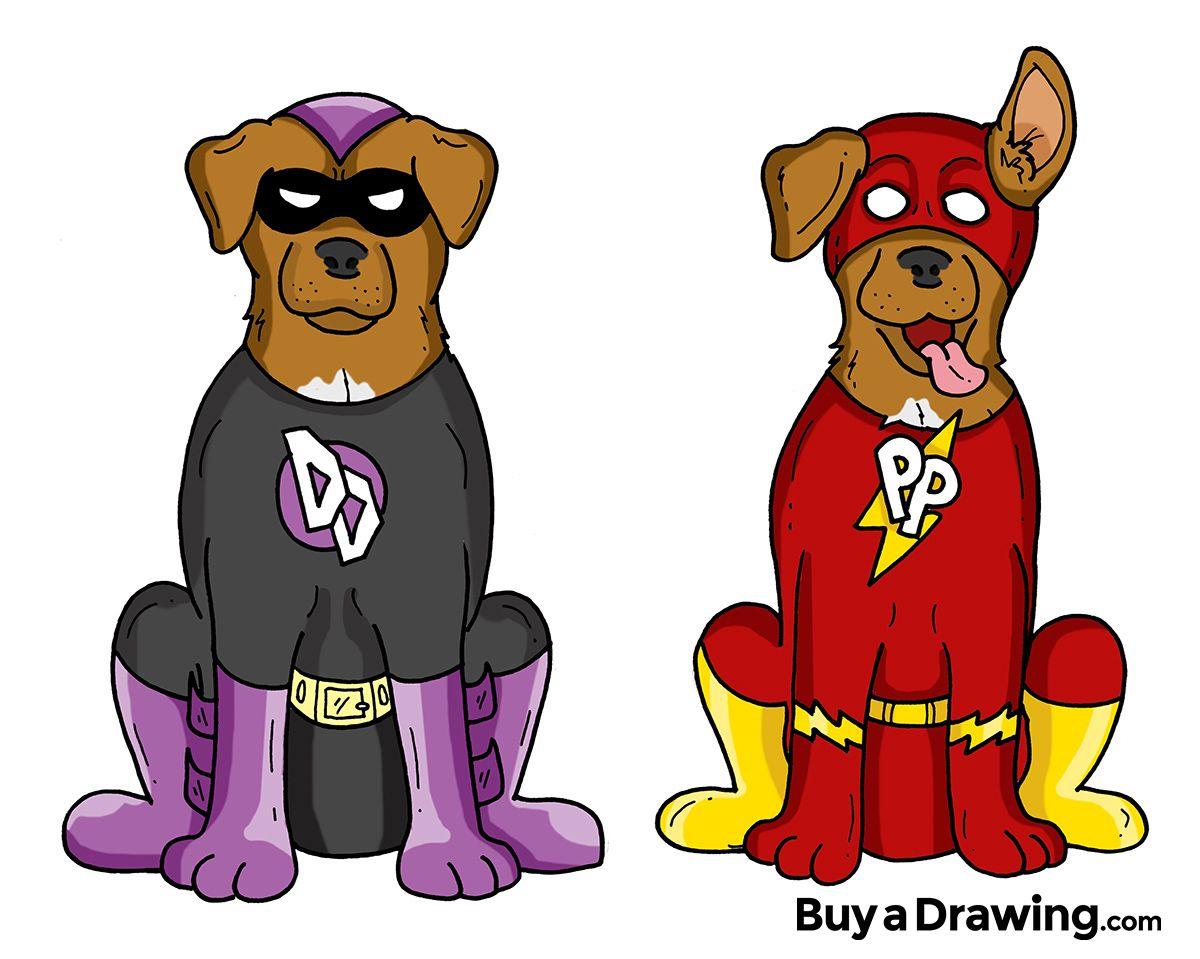 1200x959 Custom Cartoon Drawing And Stickers Of Dog Superheroes Cartoony