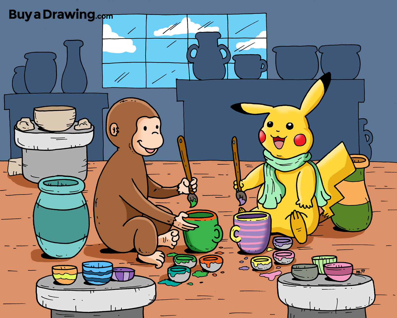 1500x1200 Custom Cartoon Drawing Of Pikachu And Curious George