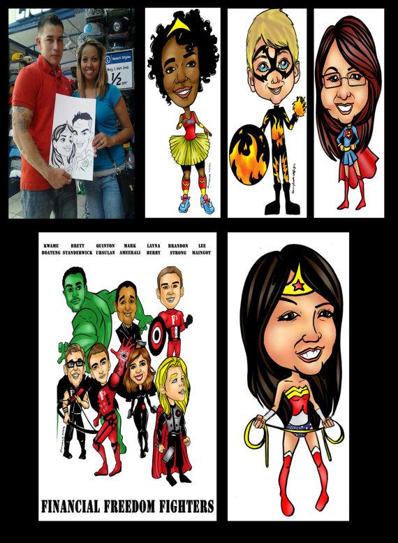 570x777 Online Superhero Caricature Gift Custom Digital Cartoon