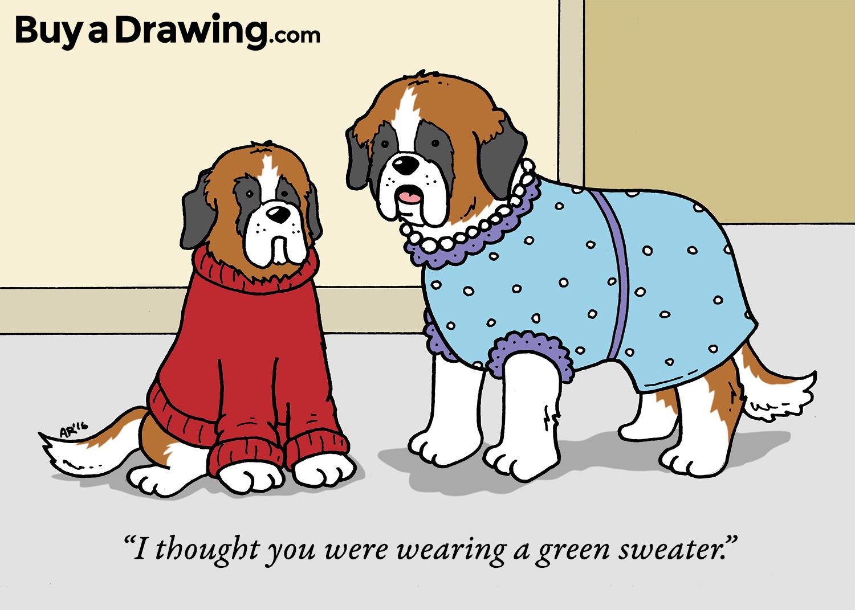 1500x1071 St. Bernard Dog Custom Cartoon Drawing For A Gift