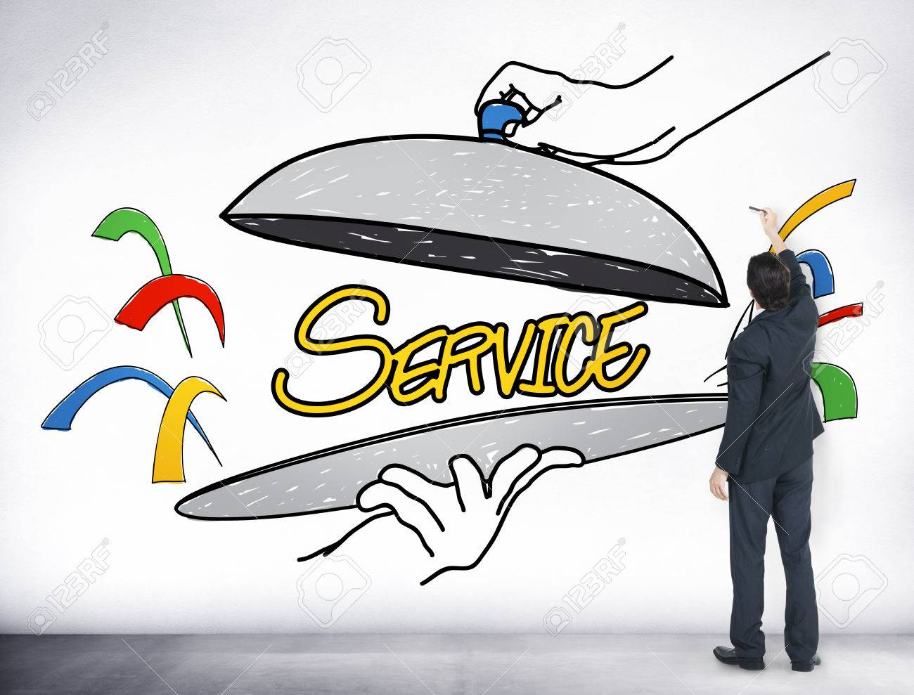1300x989 Customer Service Quality Platter Sketch Drawing Concept Stock