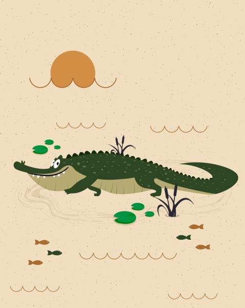478x600 Love Postcard Template Crocodile Icon Cute Cartoon Design Free