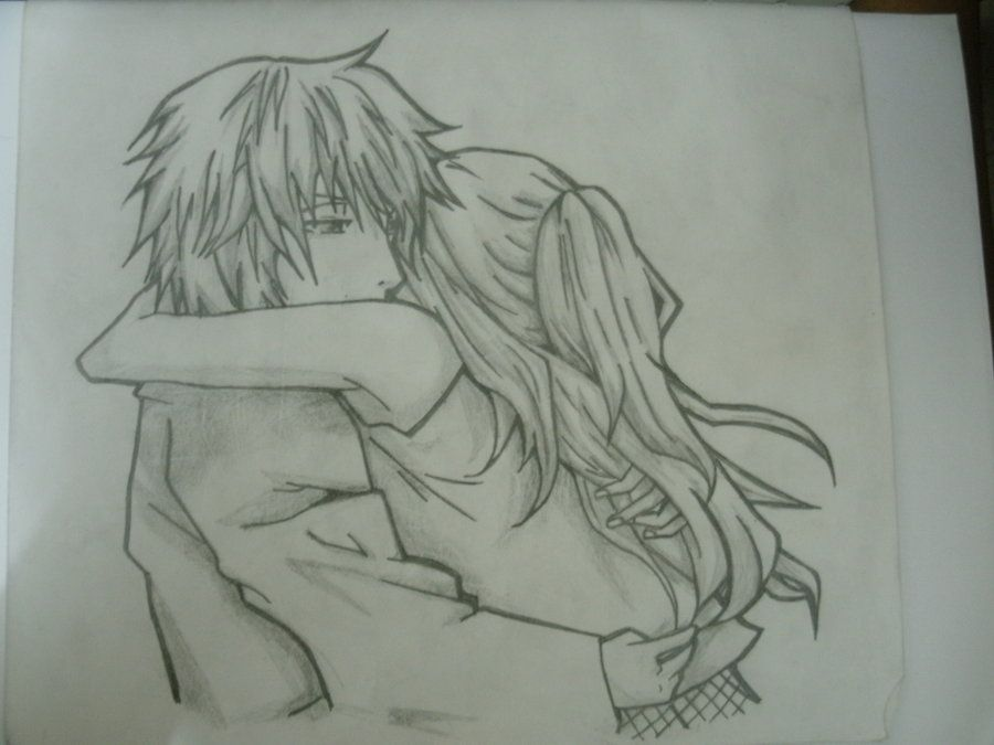 Anime Couple Hugging Drawings In Pencil
