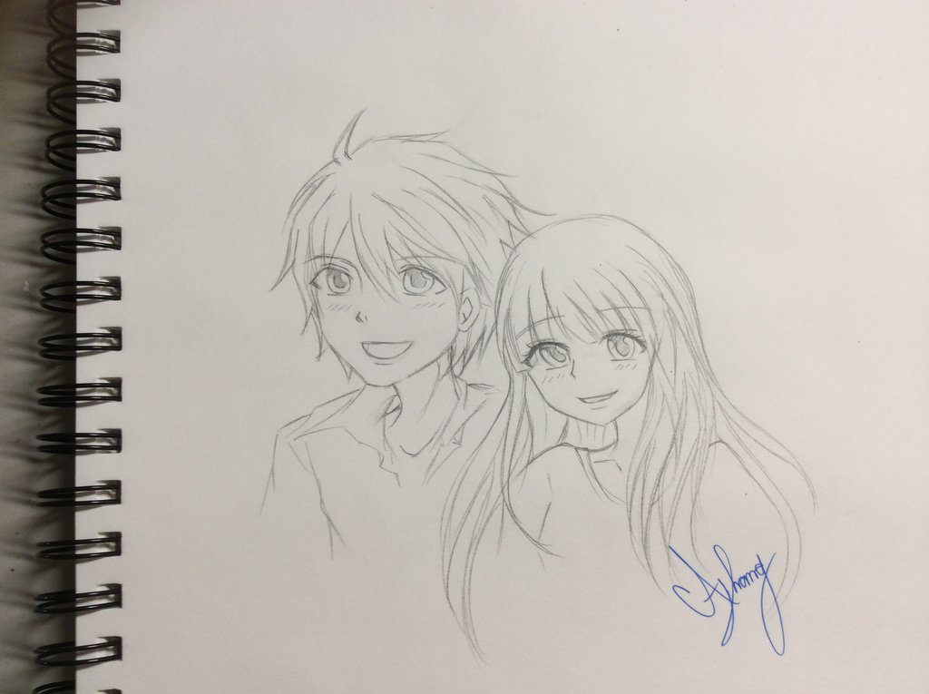 1024x765 cute anime couple sketch by damathavatar on deviantart