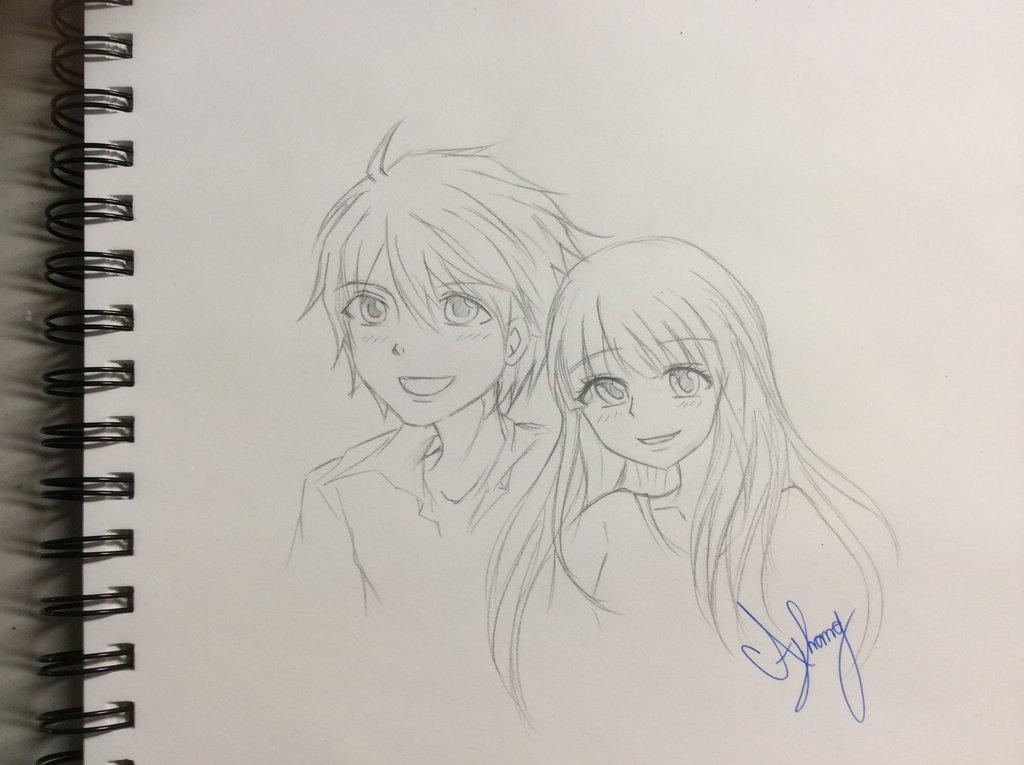 1024x765 cute anime couple sketch by damathavatar on deviantart