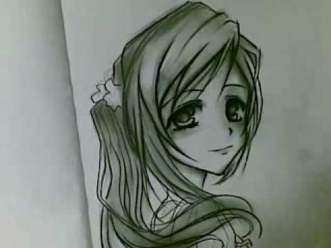 480x360 Drawing Cute Anime Girl Using Charcoal!