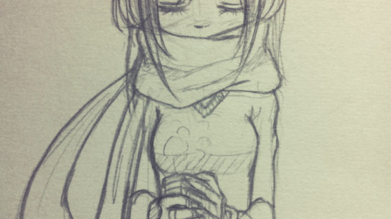 570x320 cute anime drawing ideas i like to draw girl wearing a scraf so