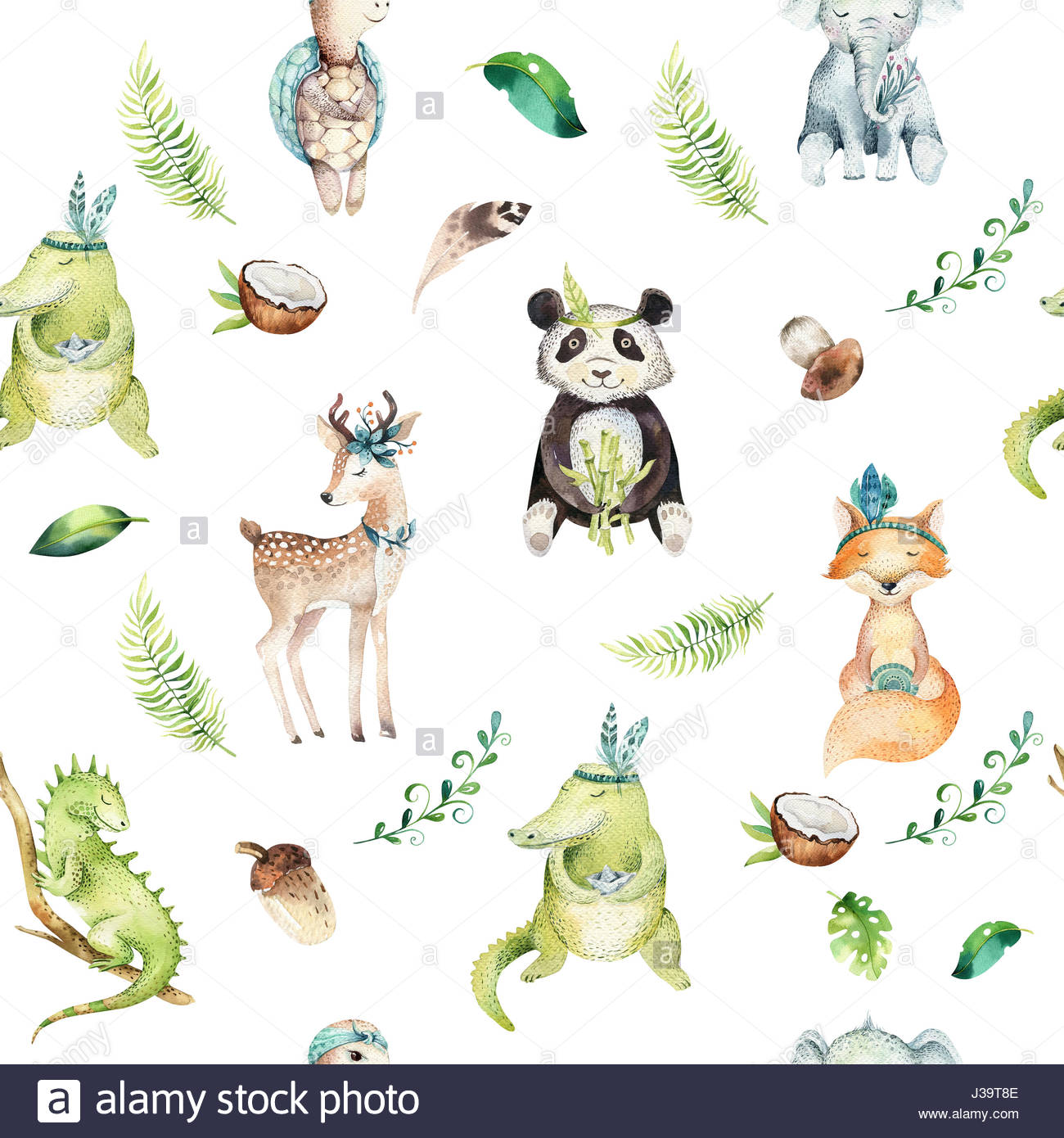 1300x1390 Baby Animals Nursery Isolated Seamless Pattern. Watercolor Boho