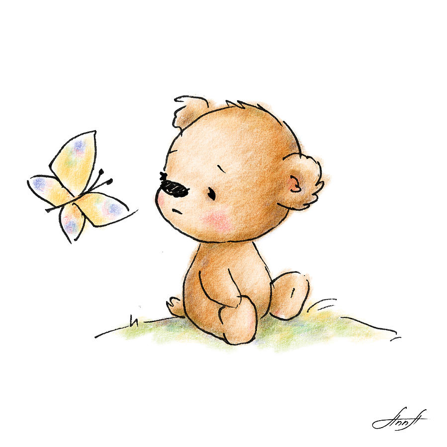 899x900 Drawing Of Cute Teddy Bear With Butterfly Digital Art By Anna Abramska
