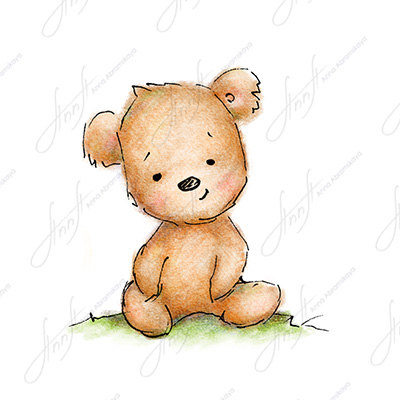 400x400 The Drawing Of Cute Teddy Bear. Printable Art. Digital File.