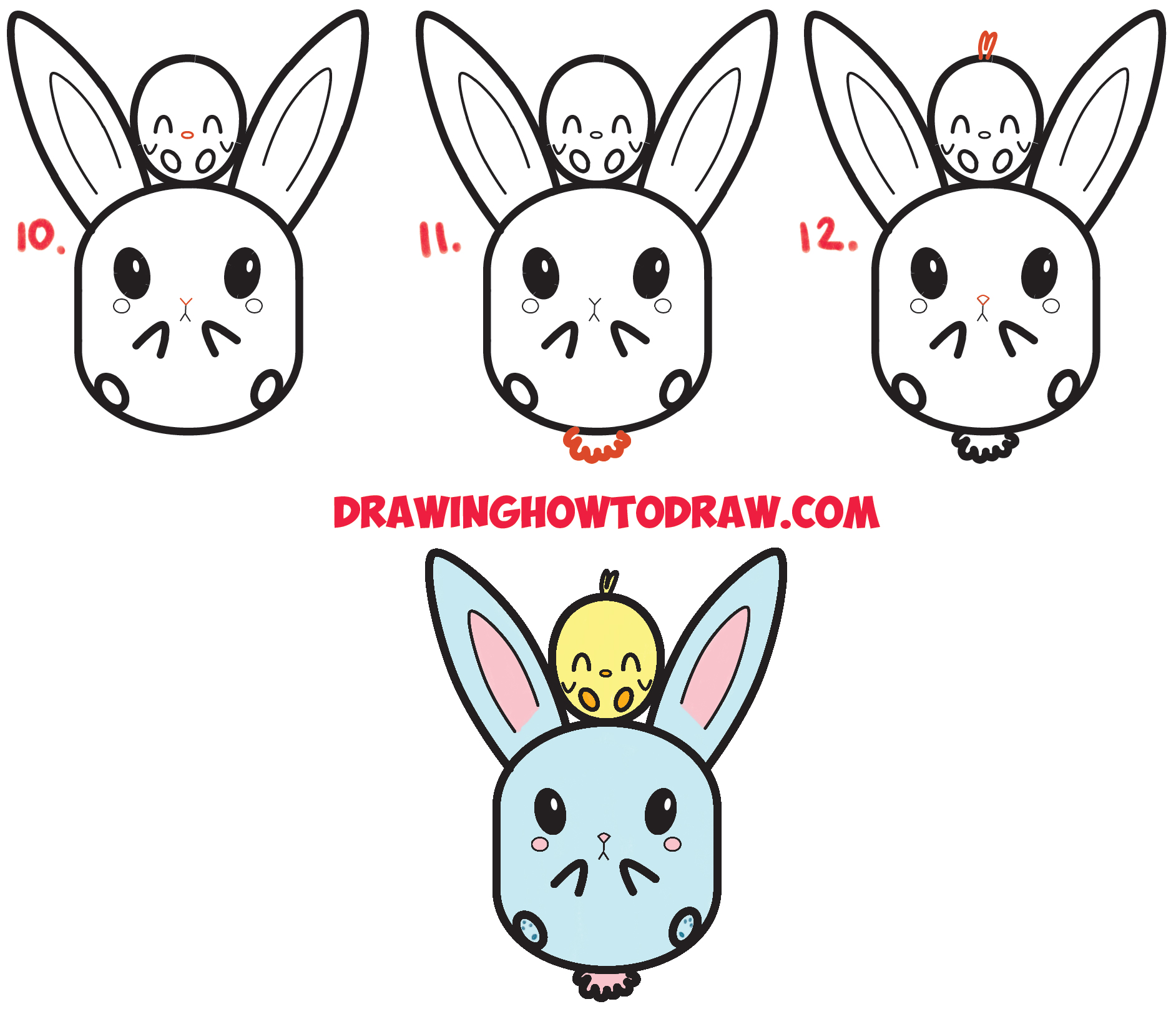 1884x1624 How to Draw Cute Kawaii Chibi Bunny Rabbit and Baby Chick Easy