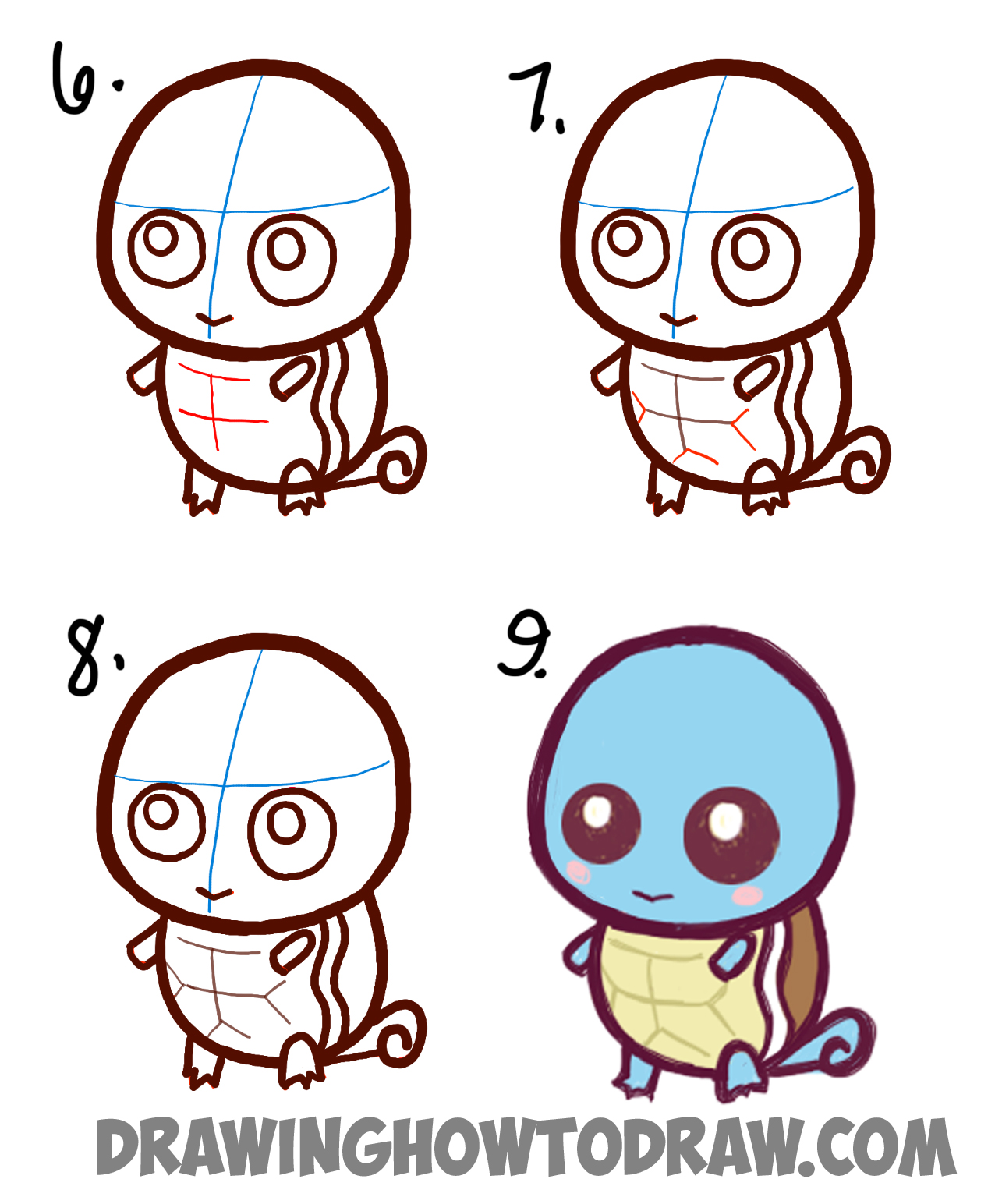 1276x1544 How to Draw Cute Baby Chibi Squirtle from Pokemon Easy Step by