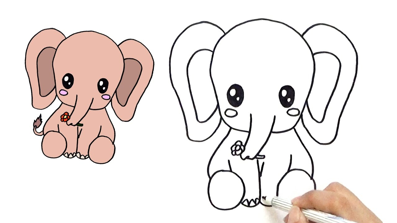 1280x720 Cute Baby Elephant Drawing How To Draw A Cute Baby Elephant