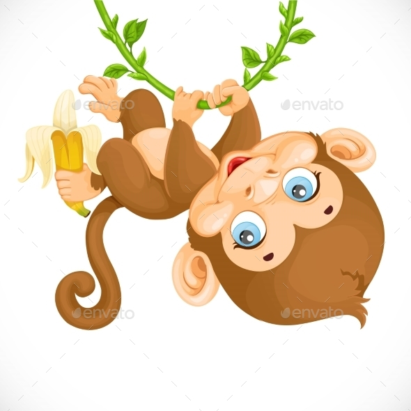 590x590 Cute Baby Monkey With Banana Hanging On The Vine Monkey, Font