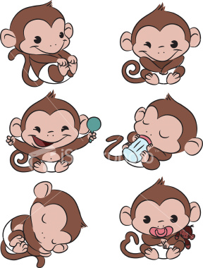 288x380 Six Baby Monkeys All Doing Different Things Rocking, Looking