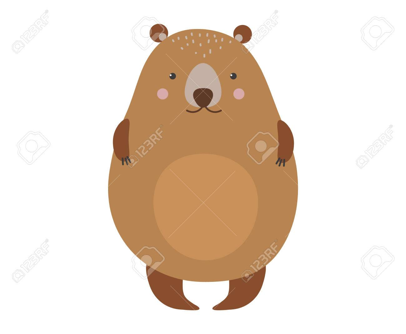 1300x1070 Cute Cartoon Bear Emotions Icon. Brown Character Happy Smiling