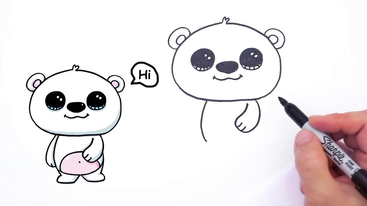 1280x720 Cute Polar Bear Drawing How To Draw A Cute Polar Bear