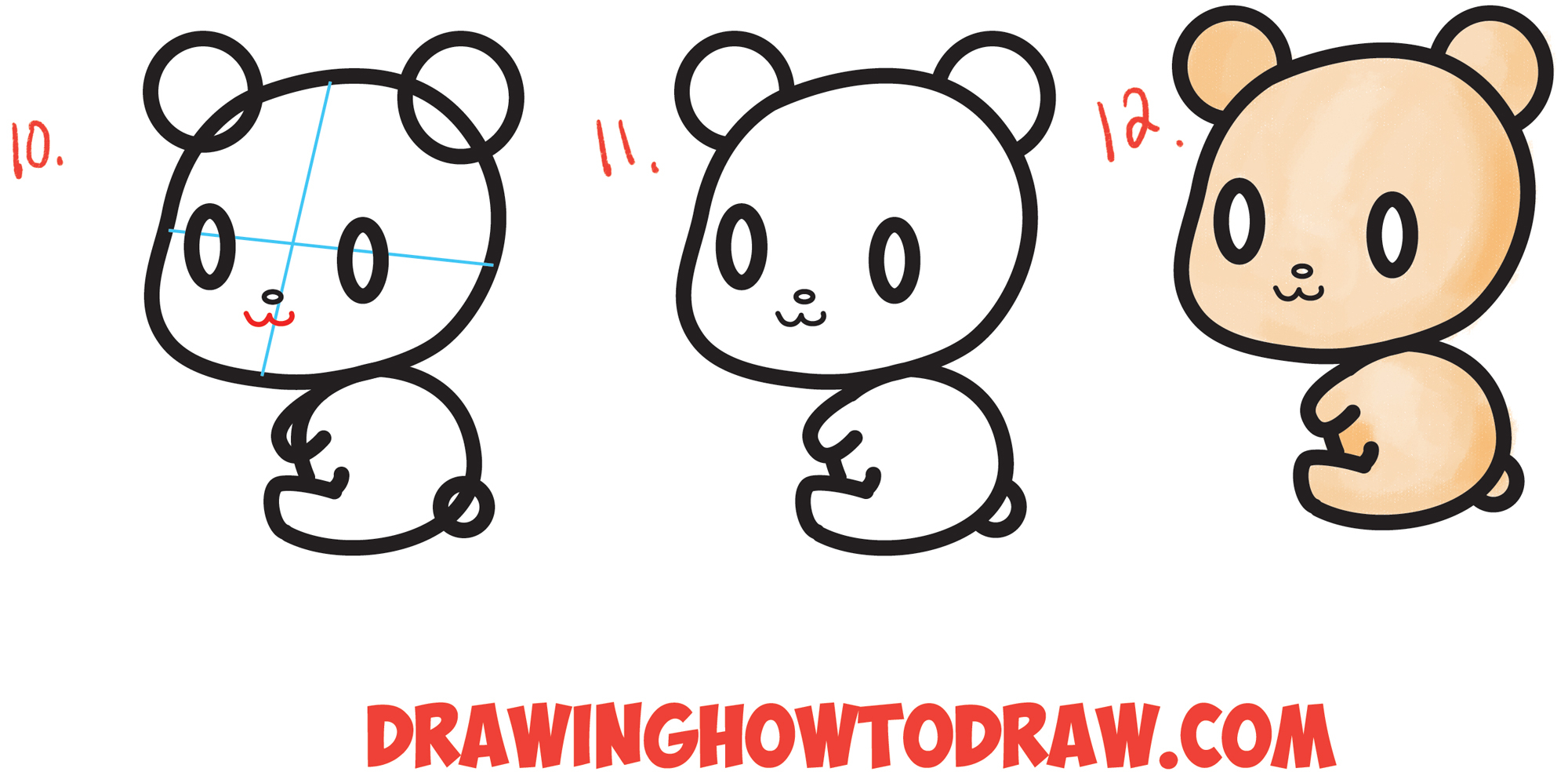 2000x984 Easy Bear Drawing How To Draw A Cute Chibi Kawaii Cartoon