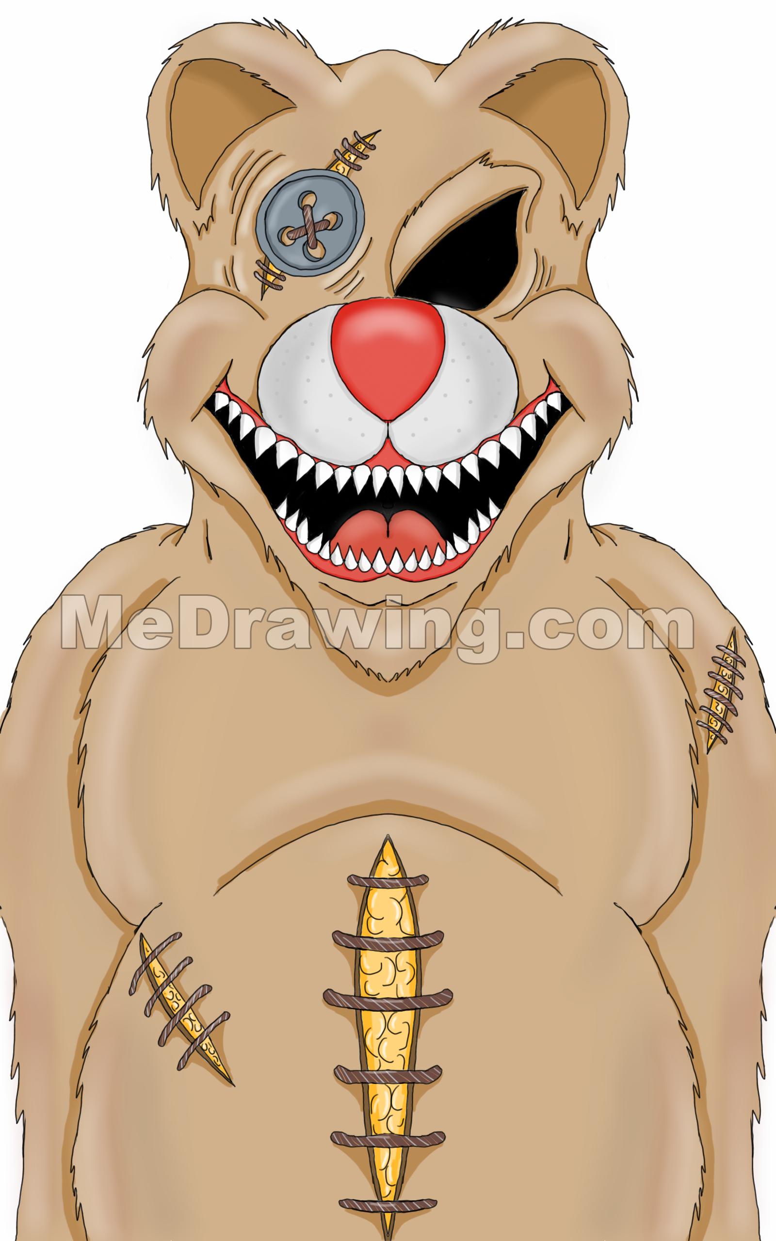 1600x2560 Gallery Teddy Bear Colorful Drawing,