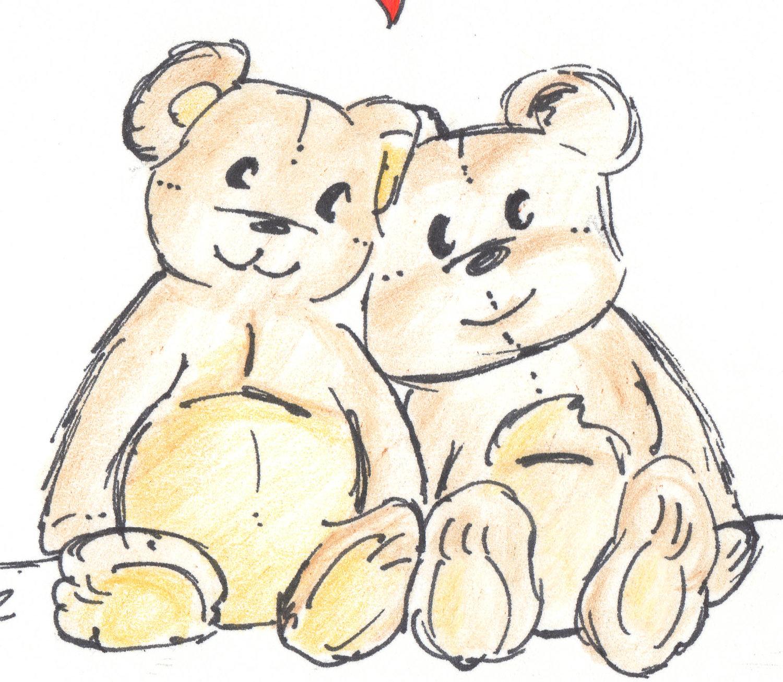1500x1305 Teddy Bear Drawing Bear Card Happy Anniversary Card Old Teddy