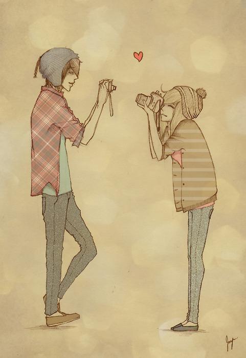 481x699 Boy, Camera, Couple, Cute, Drawing, Girl