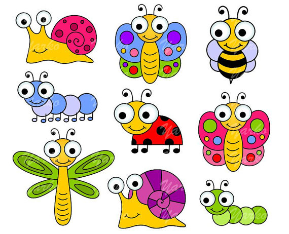 570x462 Cute Bugs Clip Art, Insects Clipart, Ladybug, Snail, Dragonfly