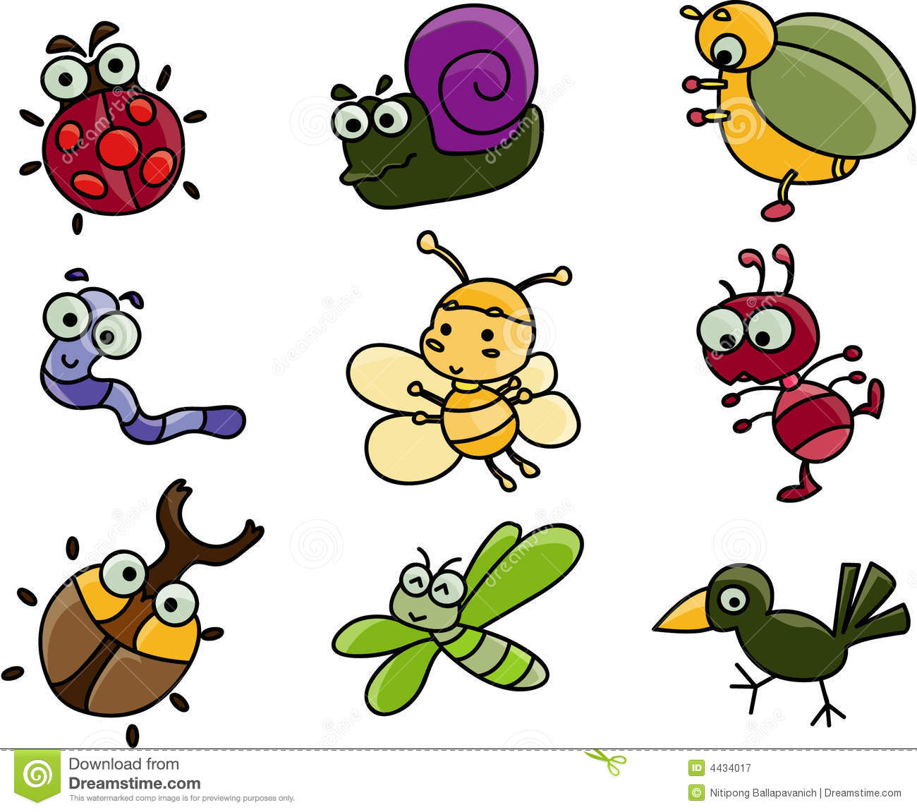 1300x1151 Cute Cartoon Bugs Group