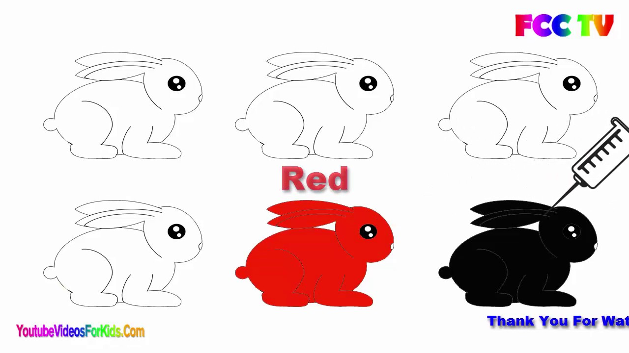 1280x720 Cute Bunny Rabbit Drawing For Kids Learning Colors
