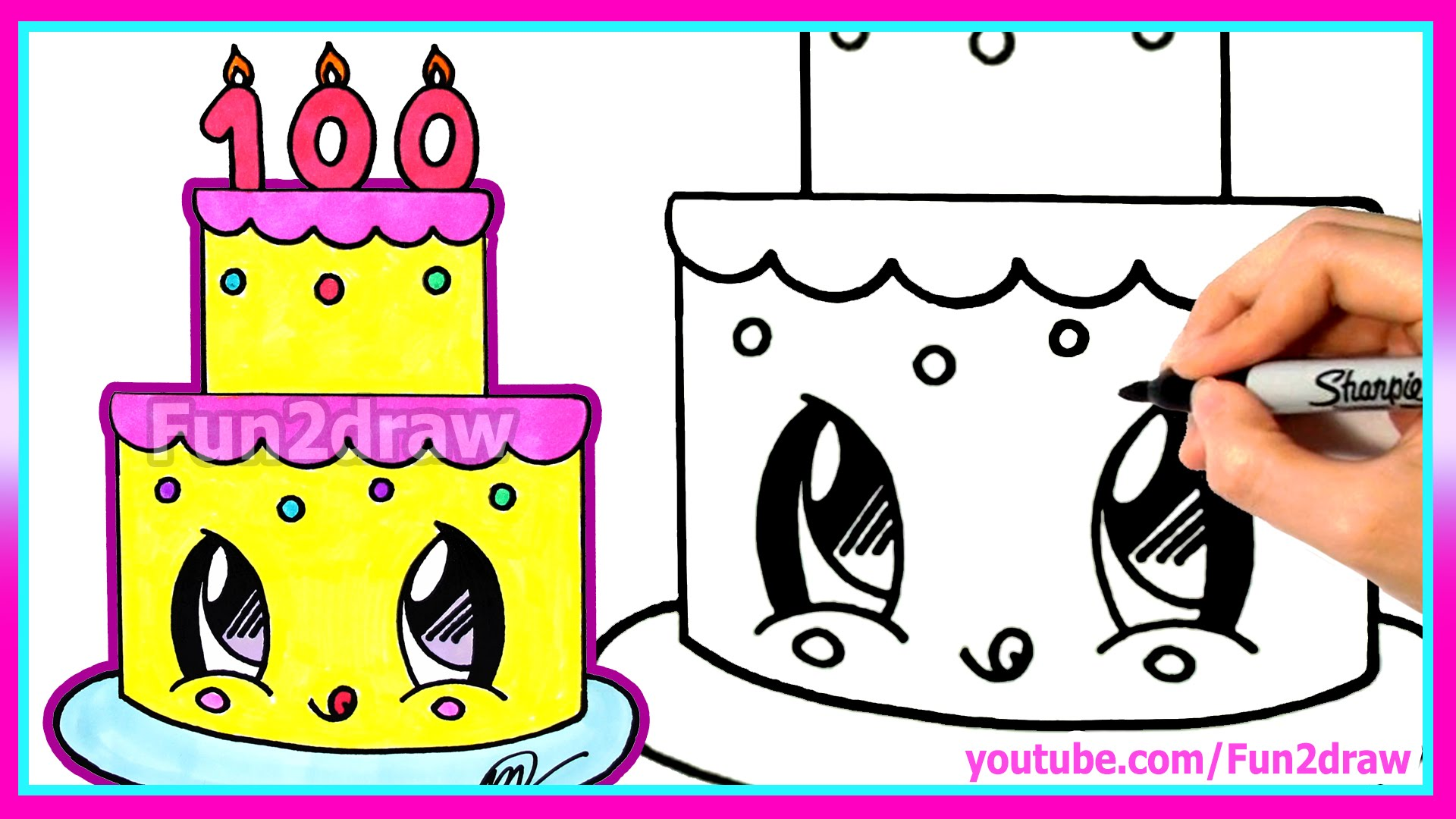 1920x1080 How To Draw And Color A Cute Cake Easy