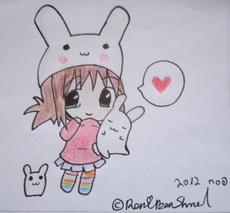 900x834 Cute Chibi Girl With Bunny ^~^ By Roniartforlife