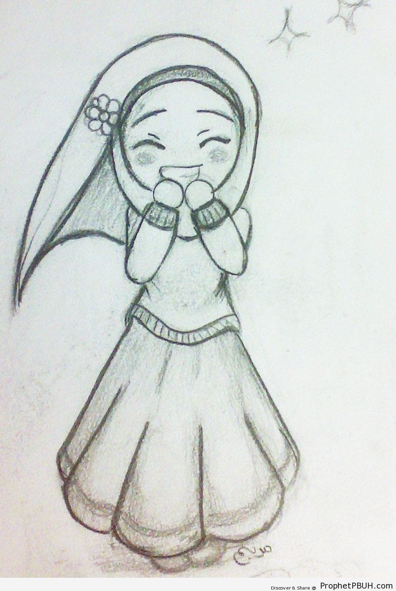 806x1203 Happy Cute Hijabi Girl (Chibi Drawing)