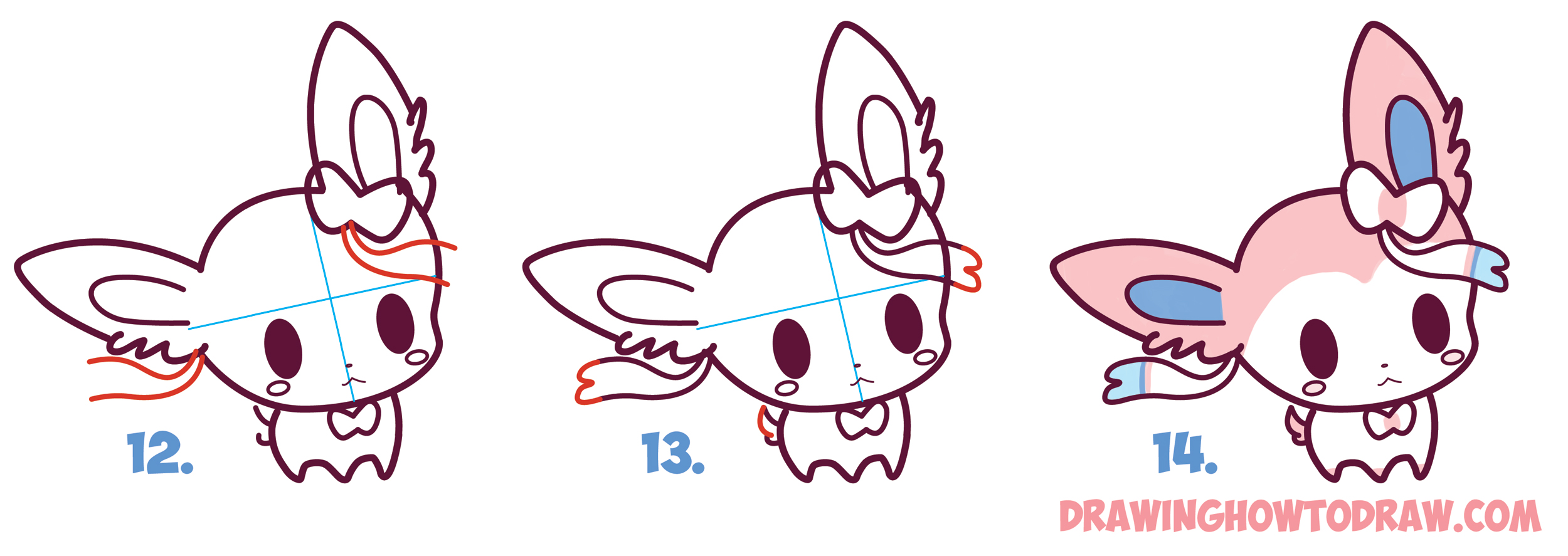 2500x887 How To Draw Cute Chibi Kawaii Sylveon From Pokemon In Easy Step By