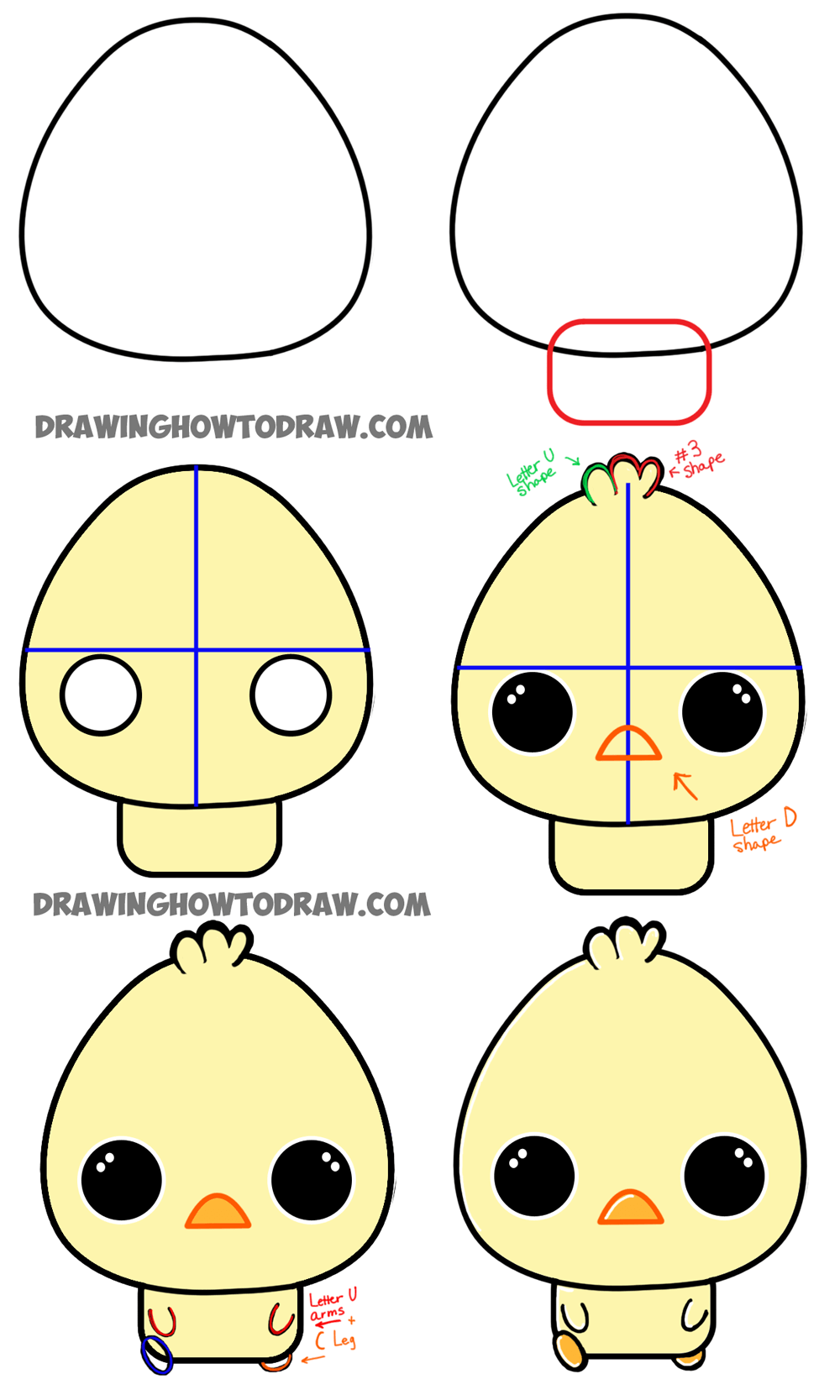 1000x1667 How To Draw A Cartoon Chibi Baby Chick