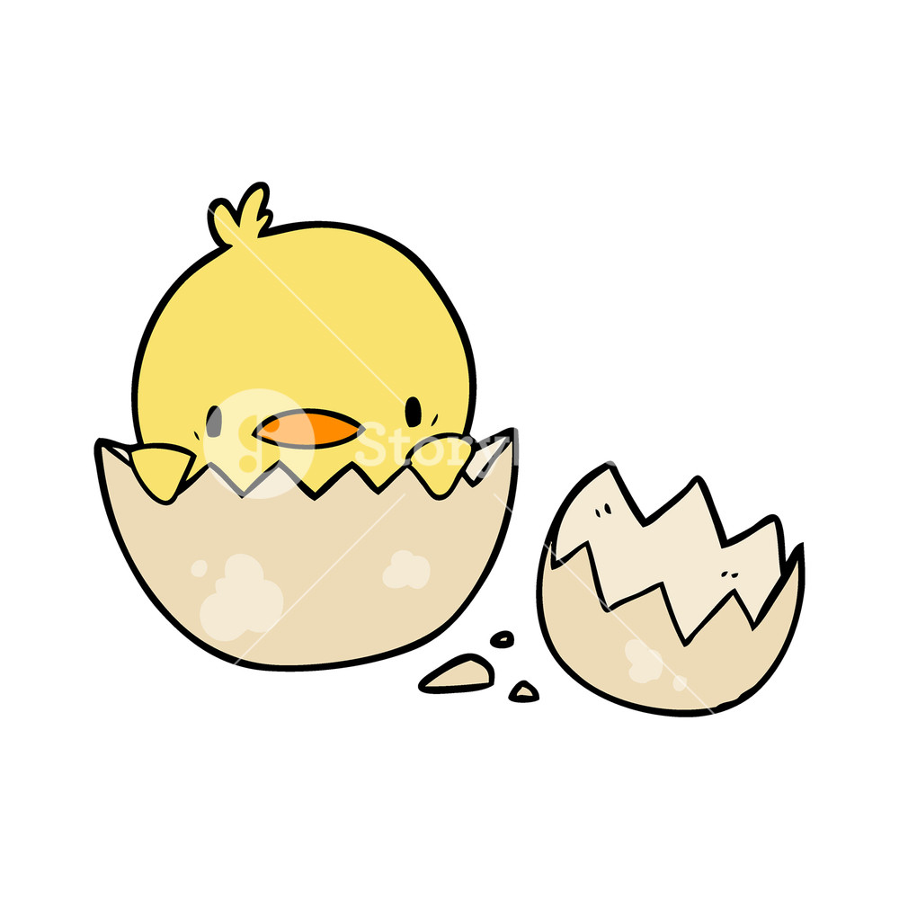 how to draw a chick in an egg